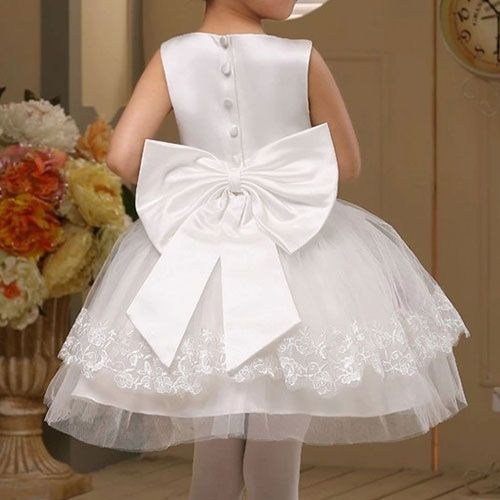 $49.99 USD Children Flower Girl White Bowknot Lace Flared Tutu