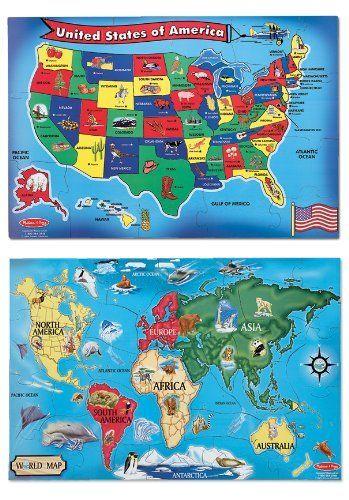Amazon.com: Geotoys - Set of 6 GeoPuzzles - World Map ...