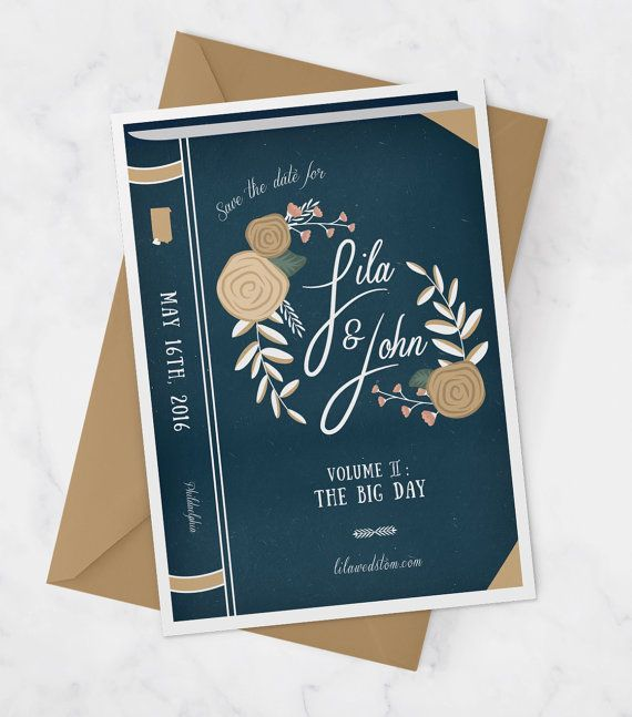 Vintage Book Wedding Save the Date  Library by MissDesignBerryInc