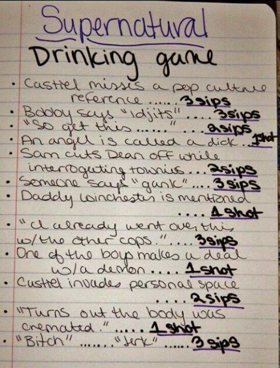 Supernatural drinking game