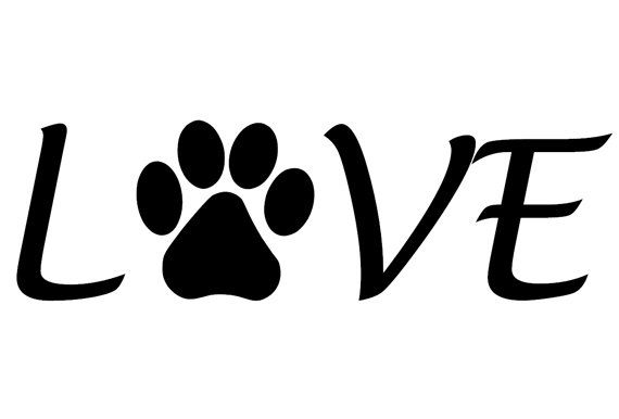 "Pet ""Love"" Paw Print, Dog, Puppy, Living room, Den, Barn, vetenarian, Animal Shelter, Saying quote wall Sticker Vinyl Decal 42"" x 12 3/4"""