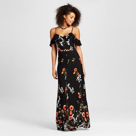 The Women's Cold-Shoulder Maxi Dress in Black by Xhilarationô (Juniors') is a perfect pairing of a flirty shoulder and a dramatic, long skirt. This ruffle sleeve maxi dress is a burst of floral excitement.