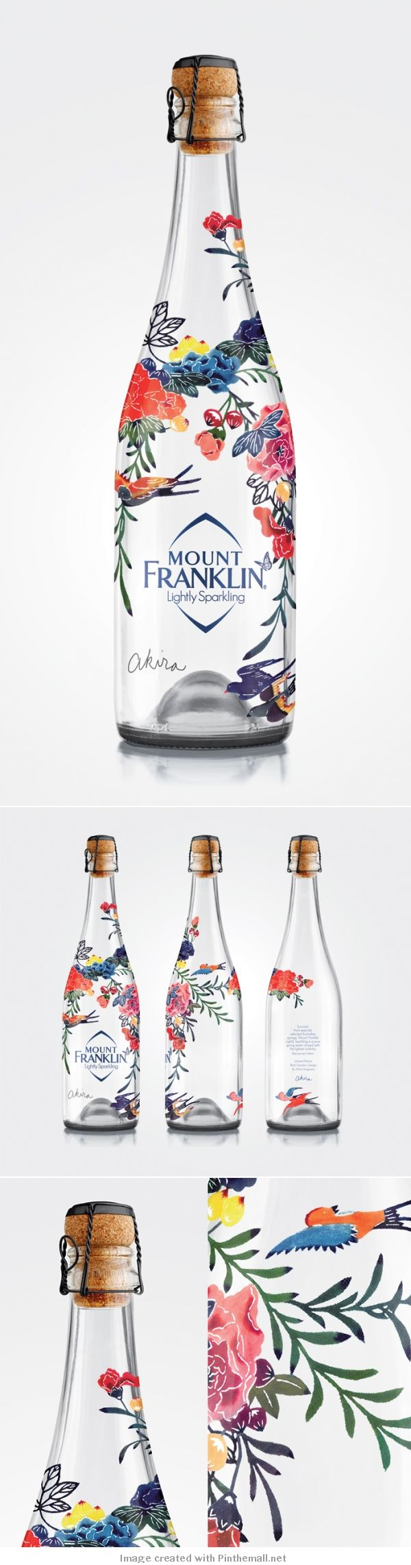 Mount Franklin Lightly Sparkling | Bottle packaging design | Akira isogawa - created via http://pinthemall.net