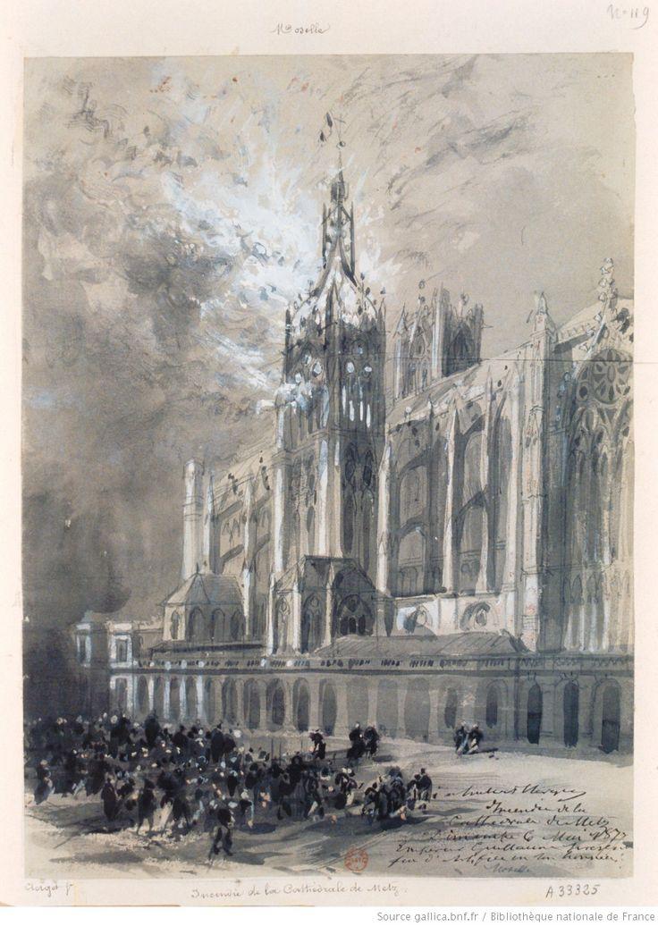 Incendie de la Cathedrale de Metz. Dimanche 6 mai 1877. Empereur Guillaume présent. Feu d'artifice en son honneur : [dessin] / [Hubert Clerget]