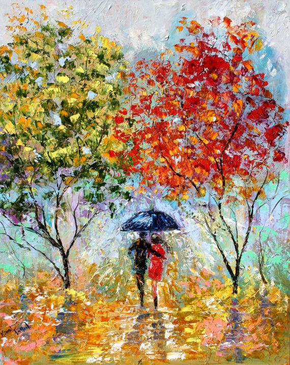 Original oil painting Fall Rain Romance Landscape - impressionism impasto fine art by Karen Tarlton