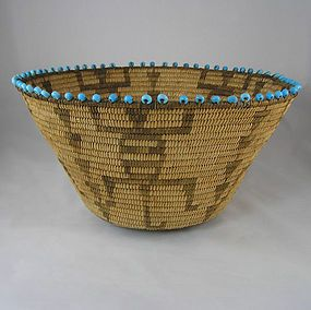 Pre-1920 Antique Pima Basket with Lizards  and turquoise blue padre beads  Native American Indian