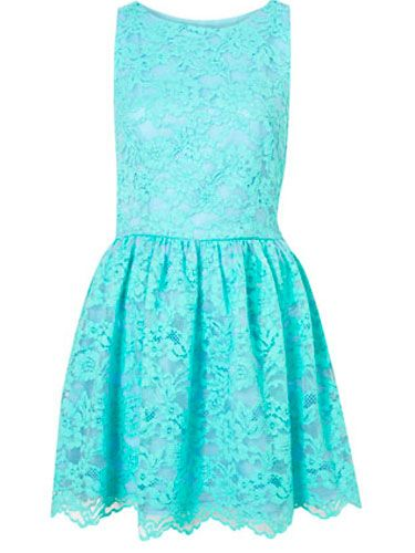 Going to a garden wedding but are stumped on what's appropriate? Stay sweet in lace, but amp it up with a color rather than neutral or white tones.Topshop Premium Bonded Lace Dress in Mint, $150.00, topshop.com. courtesy image -Cosmopolitan.com