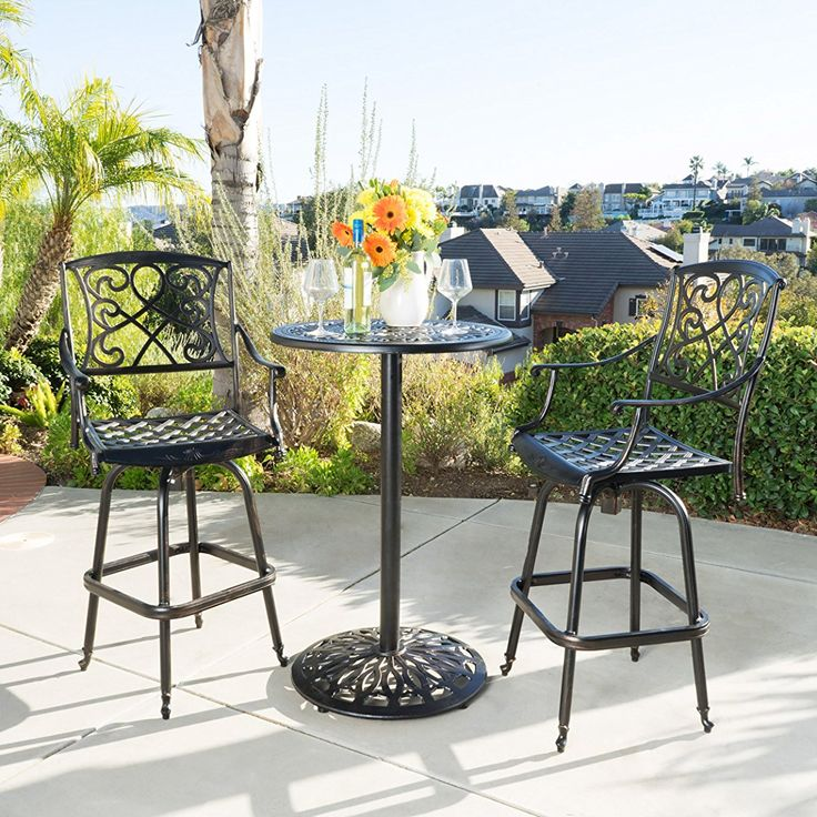 Elegant Metal Patio Bar Set