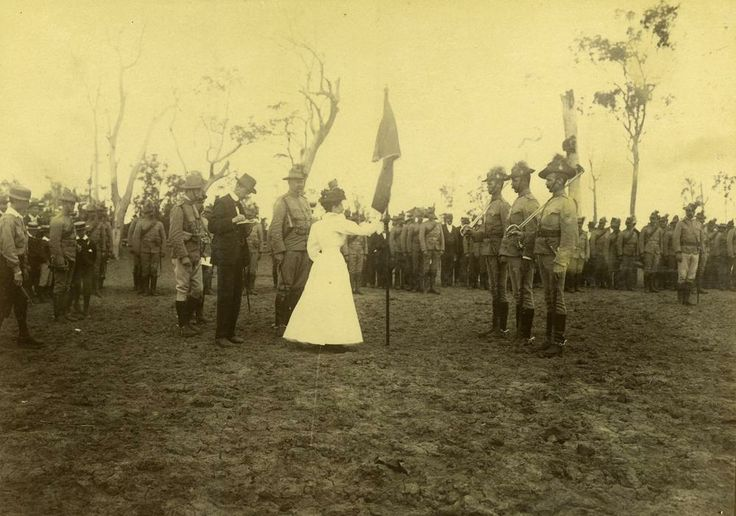 Presentation of Colours to the 1st Queensland Contingent, prior to departure for South Africa, 1899.