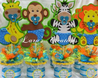 Jungle Safari party centerpiece. Baby Shower party