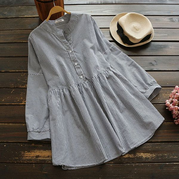 YOYO Striped Shirtdress (180 SEK) ❤ liked on Polyvore featuring dresses, striped dresses, shirt dresses, striped shirt dress, striped t-shirt dresses and stripe dress
