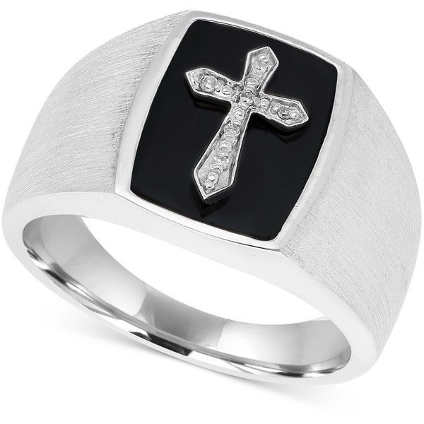 Men's Onyx & Diamond Accent Cross Ring in Sterling Silver (535 BRL) ❤ liked on Polyvore featuring men's fashion, men's jewelry, men's rings, silver, mens watches jewelry, mens sterling silver rings, mens cross ring, mens onyx rings and mens sterling silver cross rings