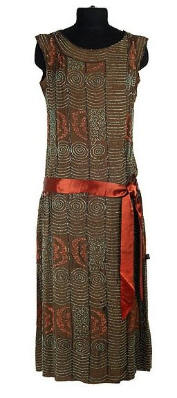 Dress: ca. 1920's, British, ribbed silk, decorated with embroidery and beading.