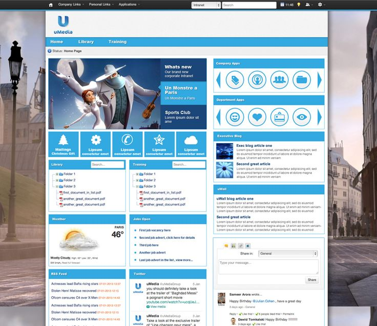 umedia the background image is striking and the rest of the design can be intranet powerpointintranet homepageintranet ideasintranet - Intranet Design Ideas