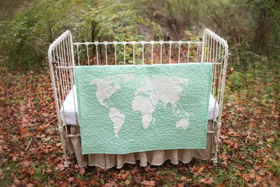 World Map baby/toddler quilt with optional by IScreenYouScreen