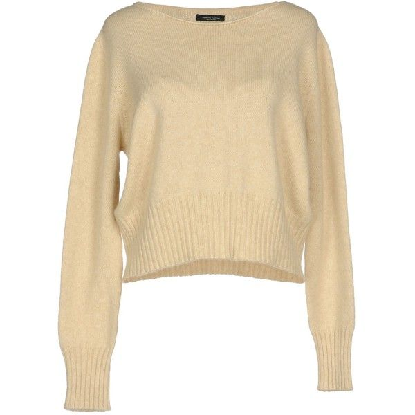 Roberto Collina Jumper (€89) ❤ liked on Polyvore featuring tops, sweaters, sand, merino sweater, long sleeve tops, roberto collina, merino wool sweater and beige long sleeve top