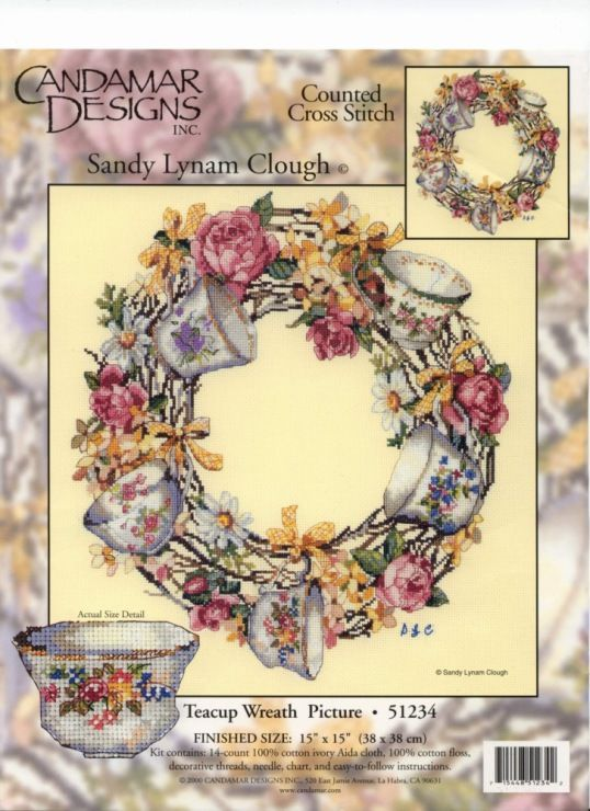 Teacup Wreath Picture ... Free Cross Stitch Pattern.  (I have this kit.)  1Gallery.ru / Фото #1 - Для кухни - ZinaidaR