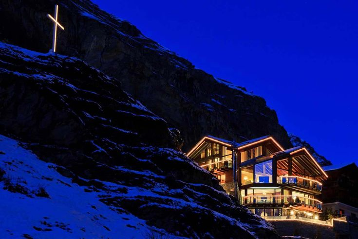 Chalet Zermatt Peak Zermatt exterior view at night