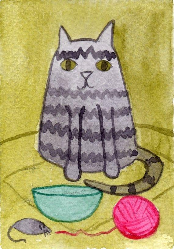 Tabby Cat  ACEO Print by printmakerjenn on Etsy, $3.00