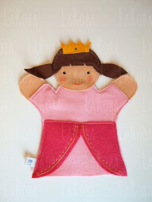 Hand puppet: two ponytails princess by LaRoba on Etsy