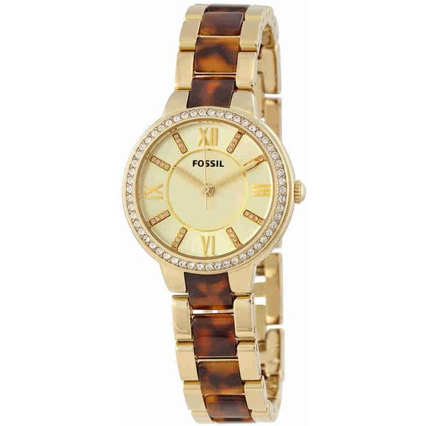 Fossil Virginia White Dial Gold-tone Stainless Steel and... ($70) ❤ liked on Polyvore featuring jewelry, watches, quartz movement watches, dial watches, roman numeral wrist watch, tortoise shell watches and analog wrist watch
