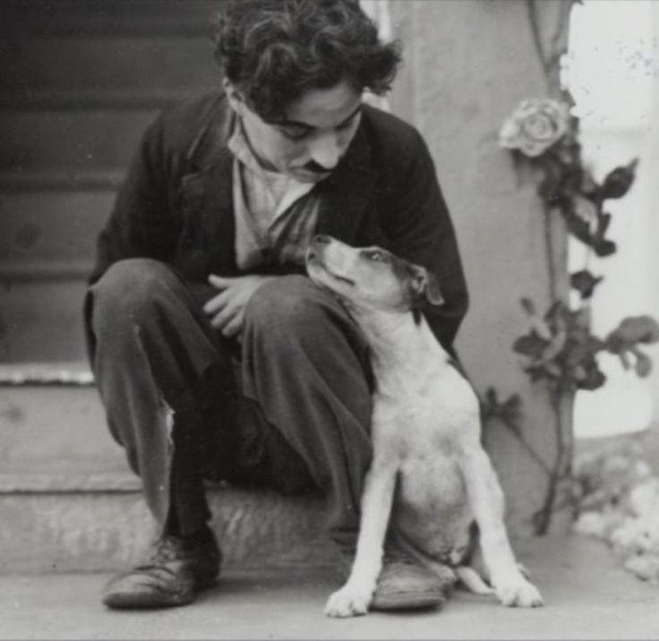 Charlie Chaplin con perro amigo