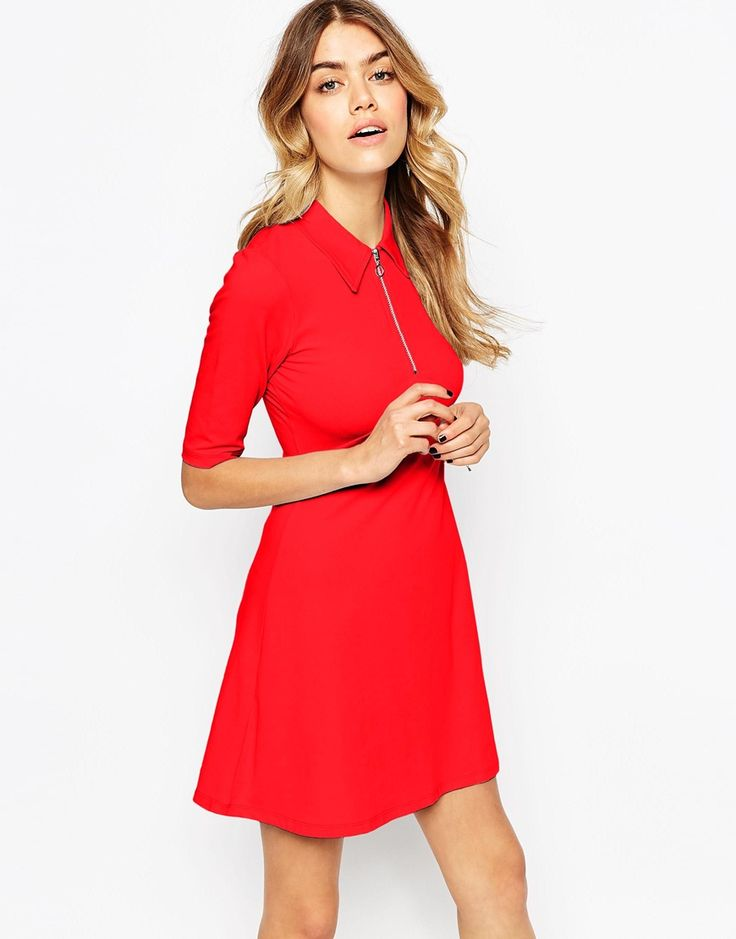 ASOS Cute Zip Front Skater Dress: Cute, yet high enough at the neck to negate what some people might call a provocative colour.  Wear with a monochrome patterned blazer to really steal the show.