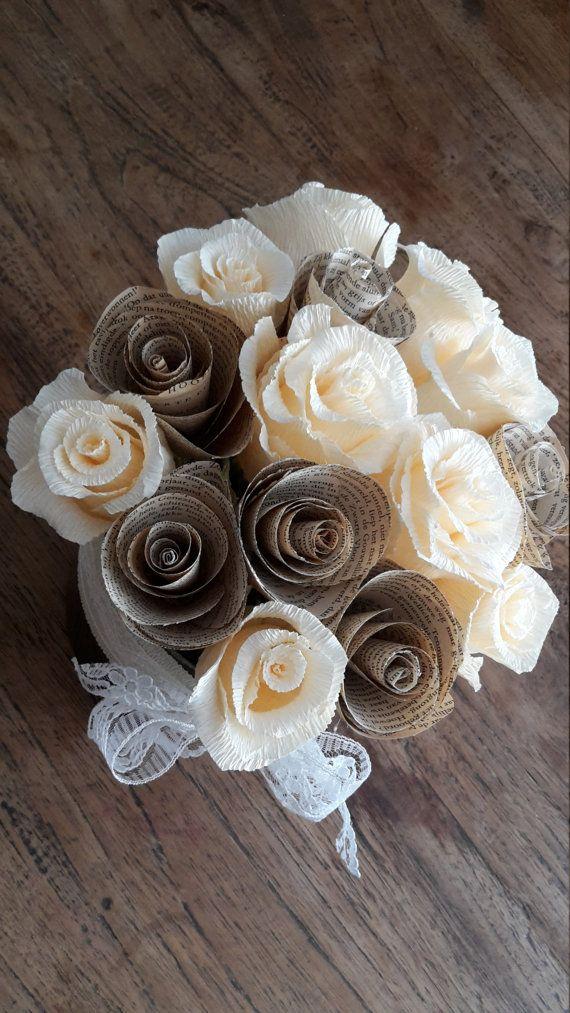bride bouquet WEDDING PAPER BOUQUET bridesmaids by moniaflowers