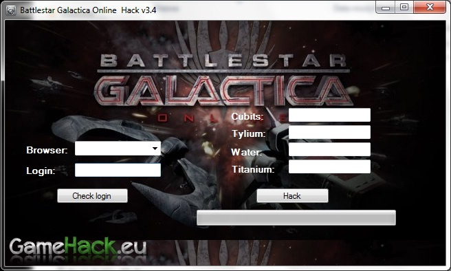 http://gamehack.eu/2012/battlestar-galactica-online-hack-v3-4/  Hello! Today I present to you the latest hack the popular game Battlestar Galactica Online. Hack works with all popular browsers. Like all of my hacks It is very easy to use, and as seen in the tutorial works 100%. Hack can Add: Cubits, tylium, Water and Titanium.