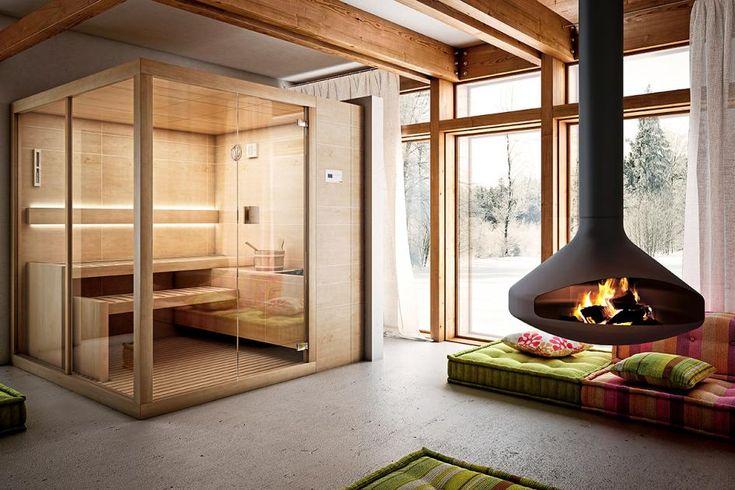 """In skandinavischen Ländern ist der Saunagang kein Einzelvergnügen – dort wird oft und gern zusammen geschwitzt. Da wundert es kaum, dass die finnische Sauna  """"Arja"""" trotz ihrer kompakten Maße von 2 x 1,5 Metern dennoch genügend Platz für kollegiale Mitschwitzer bietet."""