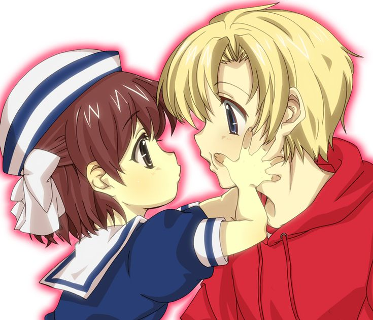 CLANNAD- Ushio and Sunohara. AWWWW uncle Youhei! *dies*