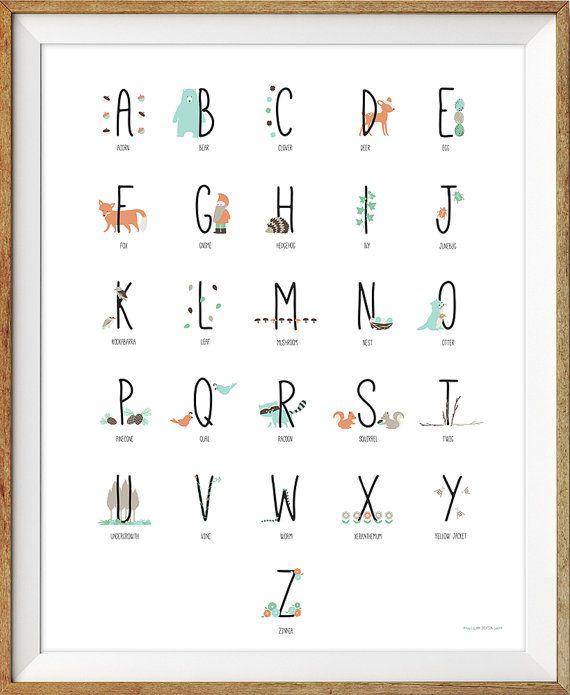 Woodland Alphabet Poster, Abc Poster, Woodland Nursery Wall Art, Alphabet Wall Art, Woodland Nursery, Nursery Print, Alphabet Print  Woodland theme