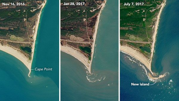 NASA recently released satellite images that show the formation North Carolina's newest island off Cape Point at Cape Hatteras National Seashore.