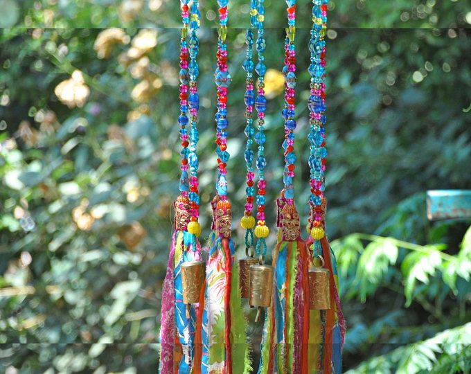 Wind klokkenspel-kraaltjes mobile met messing toeters-zon catcher-Boheemse decor-Hippie stijl decor-tuin klokken-outdoor opknoping decor-suncatcher