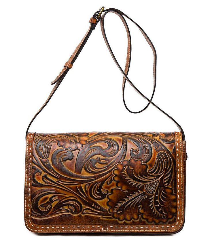 Patricia Nash Tuscan Tooled Collection Bari Square Cross-Body Bag