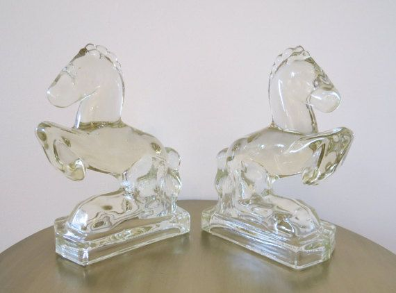 Pair Rearing Glass Horse Bookends L.E. Smith Glass by Cabination