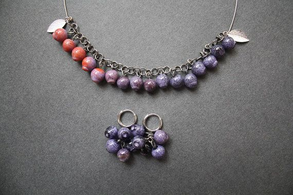 Blueberry set necklace and earrings. Colorful от LikeAGlassShop