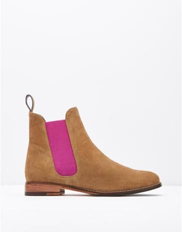 WESTBOURNE Women's Tan Suede Chelsea Boot with a pink twist