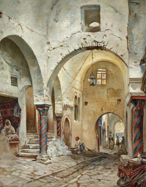 """Rudolph Gustav MÜLLER (1858 - 1888)  """" Souk des étoffes - Tunis """" Huile sur toile"""