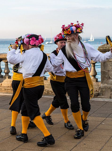 ~ Morris Dancers ~ dancing by the sea in Cowes ~ the British keep their traditions alive ~ I admire the pride that unites their country ~