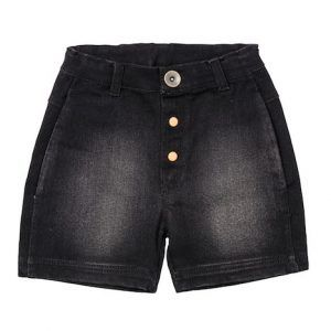 Baobab – Black Denim Square Shorts Boys loose fit, washed denim shorts made from 97% cotton 3% elastane fabric with easy access side pockets, stud opening and adjustable waistband.  Machine washable. Available in black denim.
