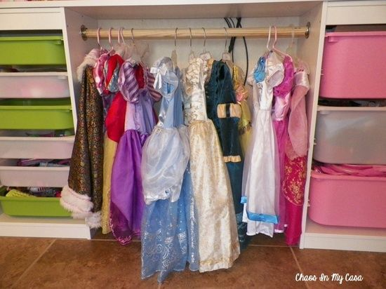 Chaos In My Casa: Toy Room Organization  Dress Up Storage--this is one seriously organized playroom.  I love the dress-up storage idea!  #DIY #playroom #organization
