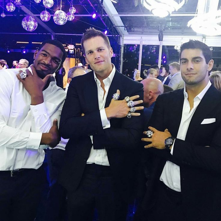 Jacoby Brissett, TB12 & JimmyG with their SB rings