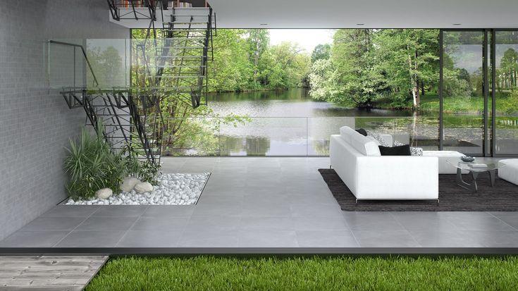 Carrelage terrasse gris 60 x 60 cm Lounge - CASTORAMA Cuisine - photo terrasse carrelage gris