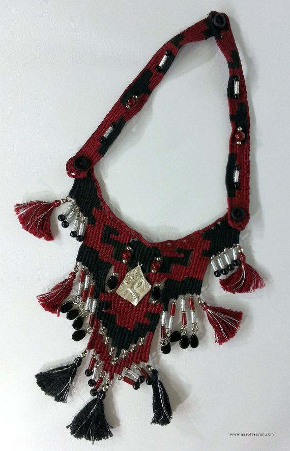 Necklace Mahogani Black Rug Pattern Necklace Rug by NazoDesign