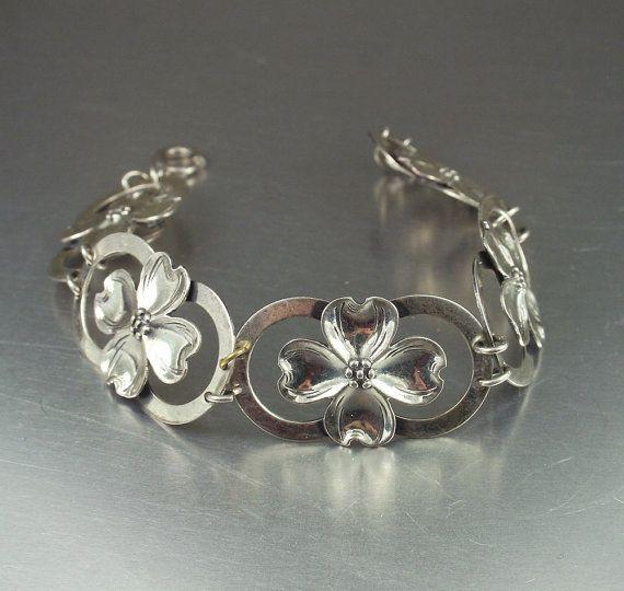 Vintage Bracelet Sterling Silver Dogwood Flower Jewelry ...