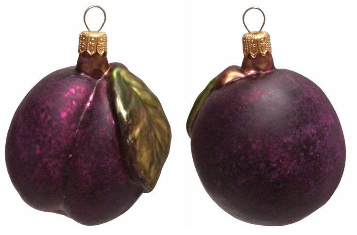 Large Plum with Leaf Polish Mouth Blown Glass Christmas Ornament Set of 2
