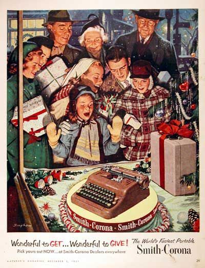 Vintage Christmas Magazine Ad ~ Smith-Corona Typewriter ©1951