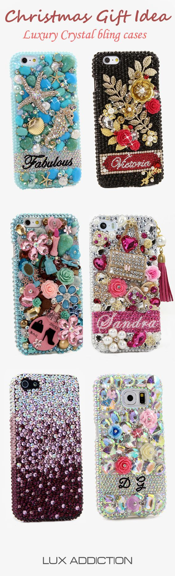 Luxury Crystals Bling Cases for iPhone, Samsung, Black Berry, Nokia, HTC, LG, Motorola and Sony. Our designs are 100% hand crafted. These Bling phone cases will be best Christmas Gift for you & your family. See more phone case designs on http://www.luxaddiction.com/collections/personallized-designs