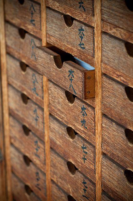 Drawers for Omikuji (paper fortune) at Tanjo-ji Temple, Chiba, Japan